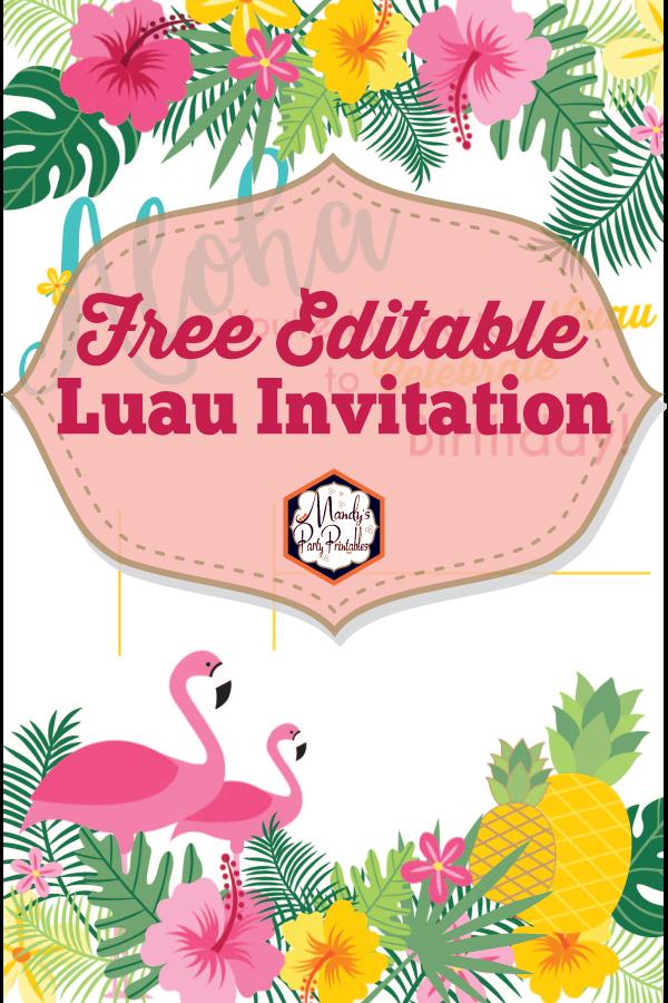 Free Luau Birthday Party Printable Invitation Editable
