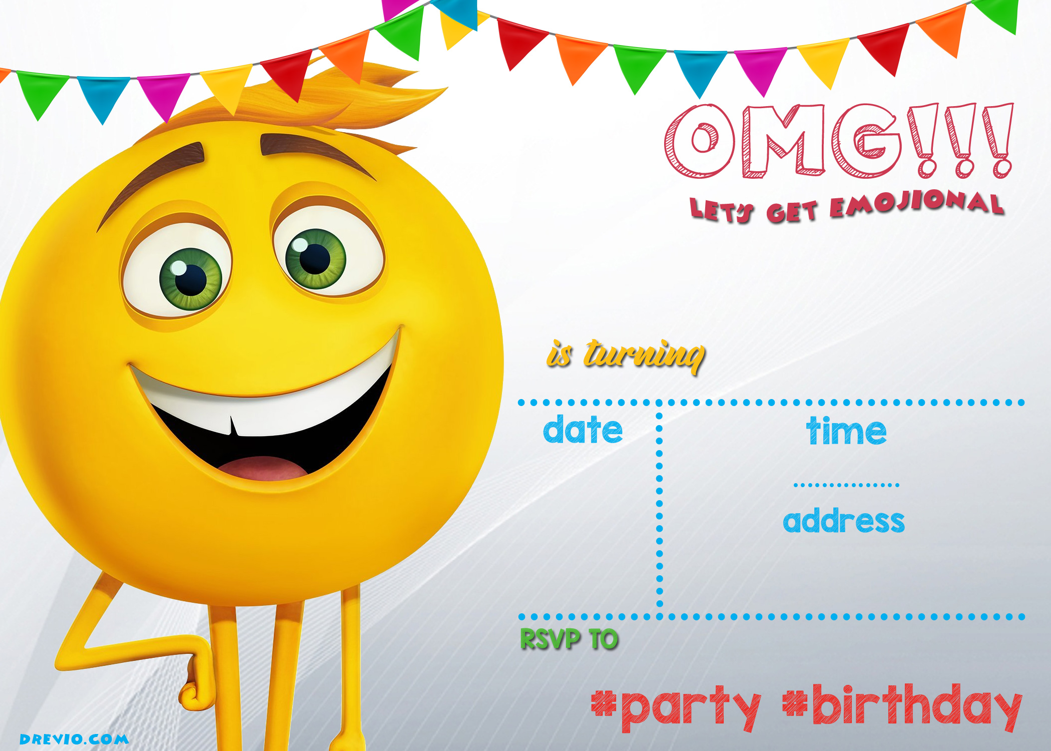 Printable Emoji Party Invitations Mandy S Party Printables