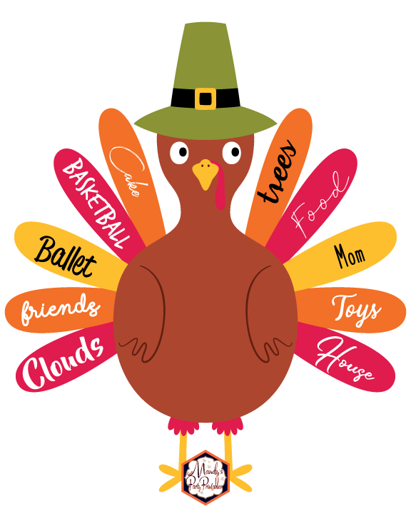Thankful Turkey Free Printable With Feathers