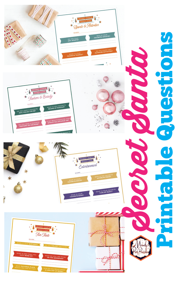 Secret Santa Questions And Printable Free Mandy S Party Printables